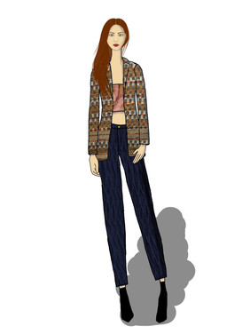 Wool Jacket, Strapless Top and Cigarette Pants