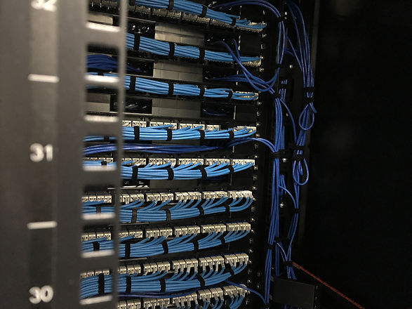 Ethernet cables in rack cabinet, UTP cab