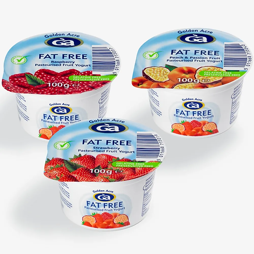 Golden Acre Fat Free Yoghurts strawberry,peach and passion fruit, raspberry each