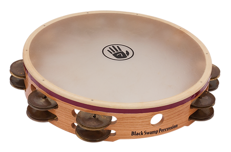 The Black Swamp S3 Tambourine is crafted with a solid cherry shell and aged brass jingles for a Sensitive, Subtle, and Sophisticated sound.