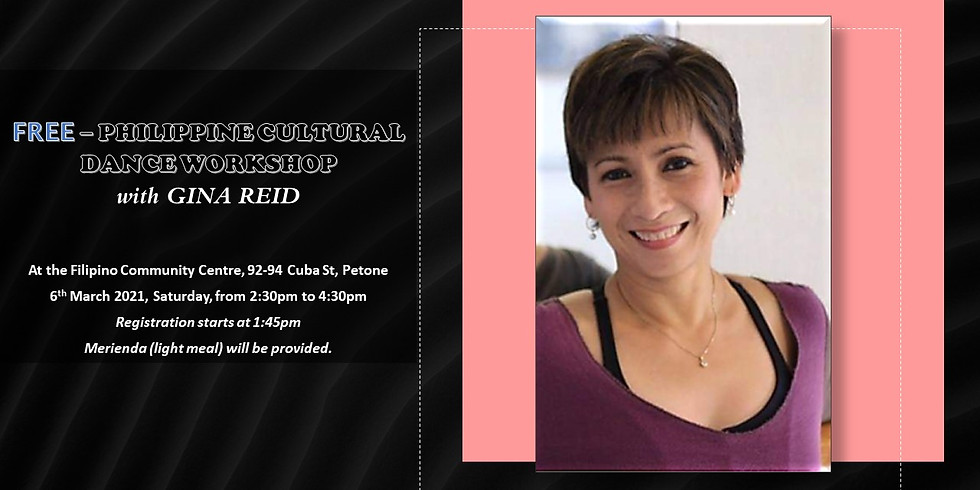FREE – PHILIPPINE CULTURAL DANCE WORKSHOP with GINA REID