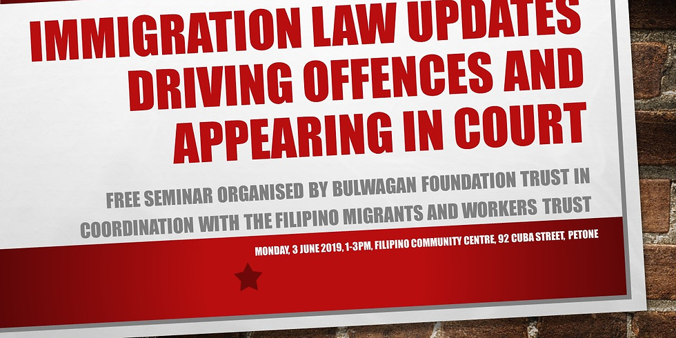 Free Seminar on Immigration Policy and Driving Offences