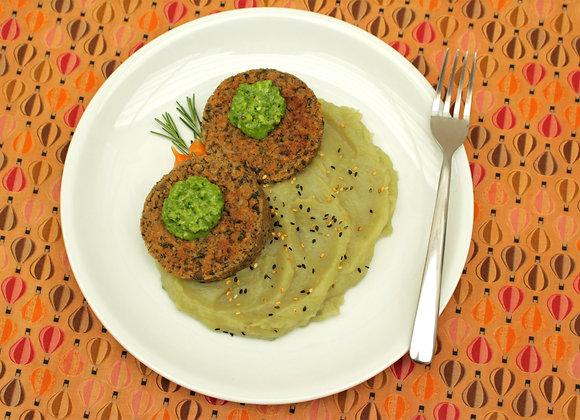 Hamburguer de lentilha e cogumelo Portobello