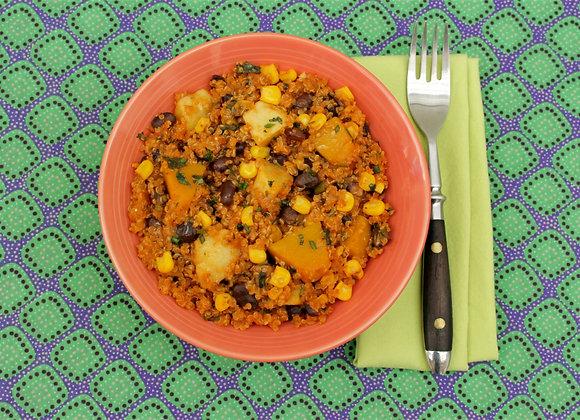 Risoto de quinoa com legumes, feijão preto e ervas