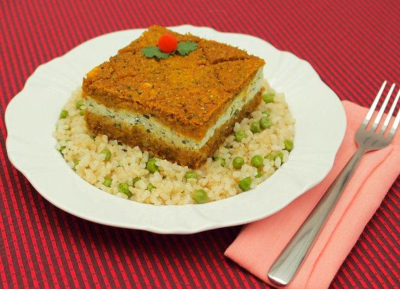 Quibe de abóbora, nozes e ricota com arroz integral cateto e ervilhas frescas