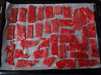 dehydrating beef strips in an oven