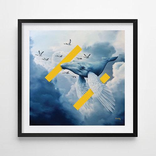 Blue flock / print