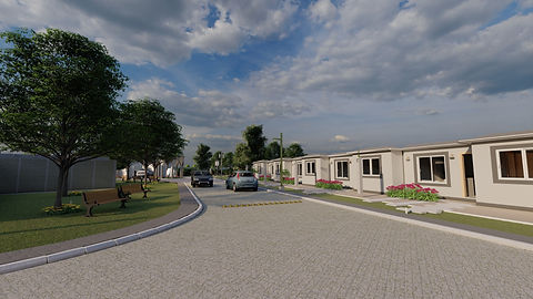 Render de urbanización de casas frente a un parque dentro de la urbanización