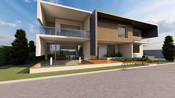Casa minimalista con fuente en la entrada, balcones en el segundo piso con barandal de vidrio y jardín en la entrada
