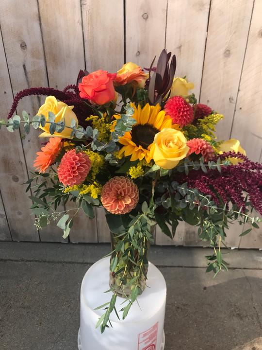 Warm Colors in a Seasonal Arrangement