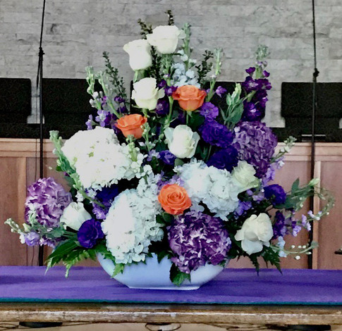 Altar Arrangement - Purple & White w/Orange Accent