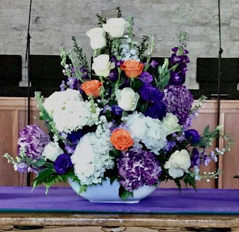 Altar Arrangement - Purple & White w/Orange Accent