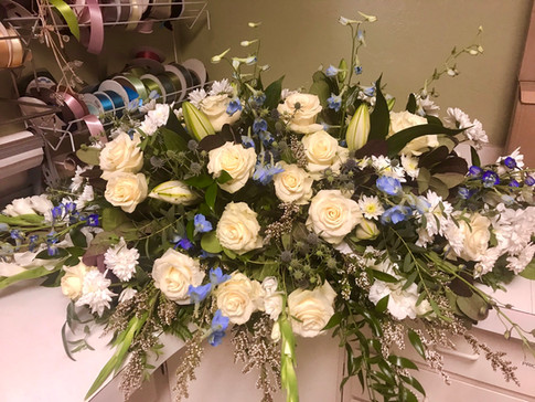White with Blue Accent Casket Cover