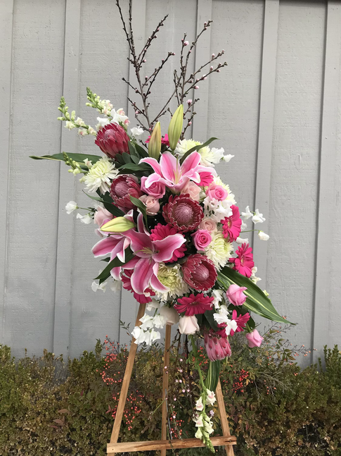 Standing Easel Spray in Pinks