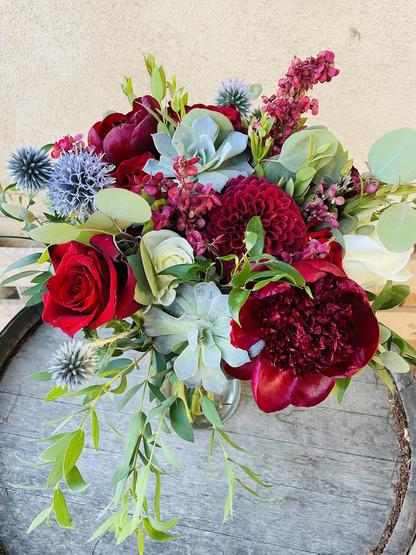 Rich Royal Shades Bridal Bouquet (some flowers seasonal)