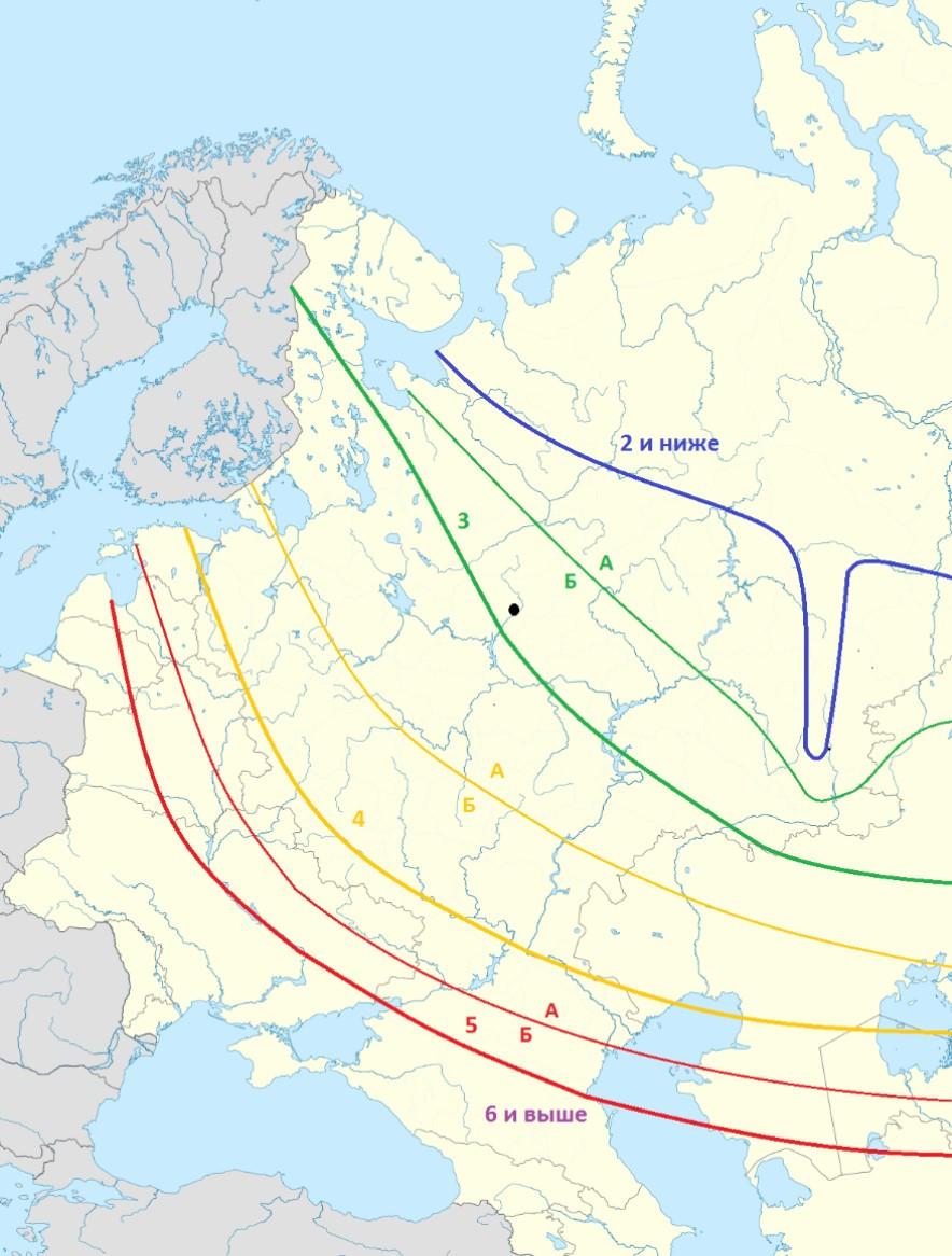 зоны зимостойкости USDA для Европейской части России