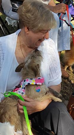 parishioner with dog