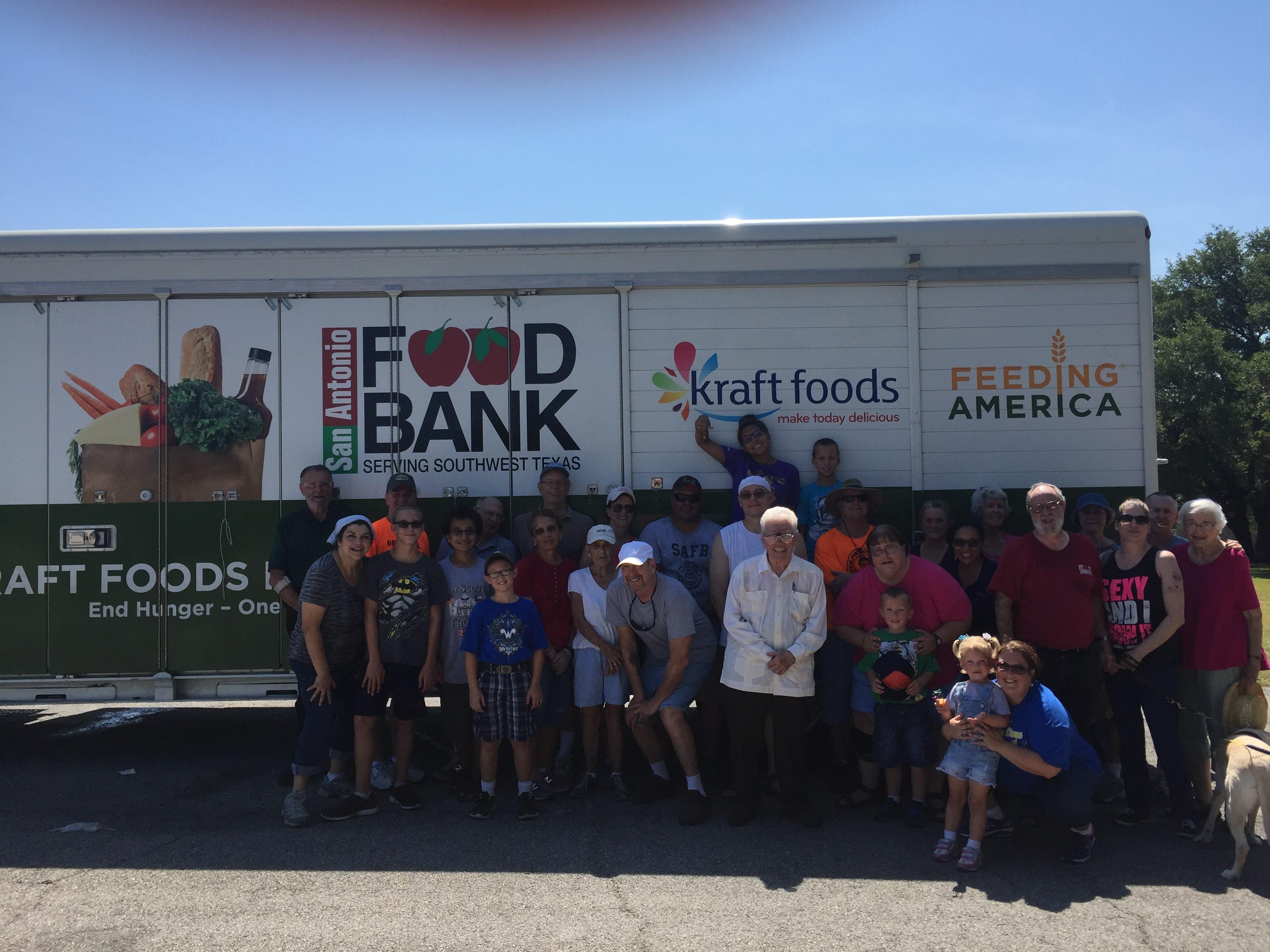 group photo food distribution