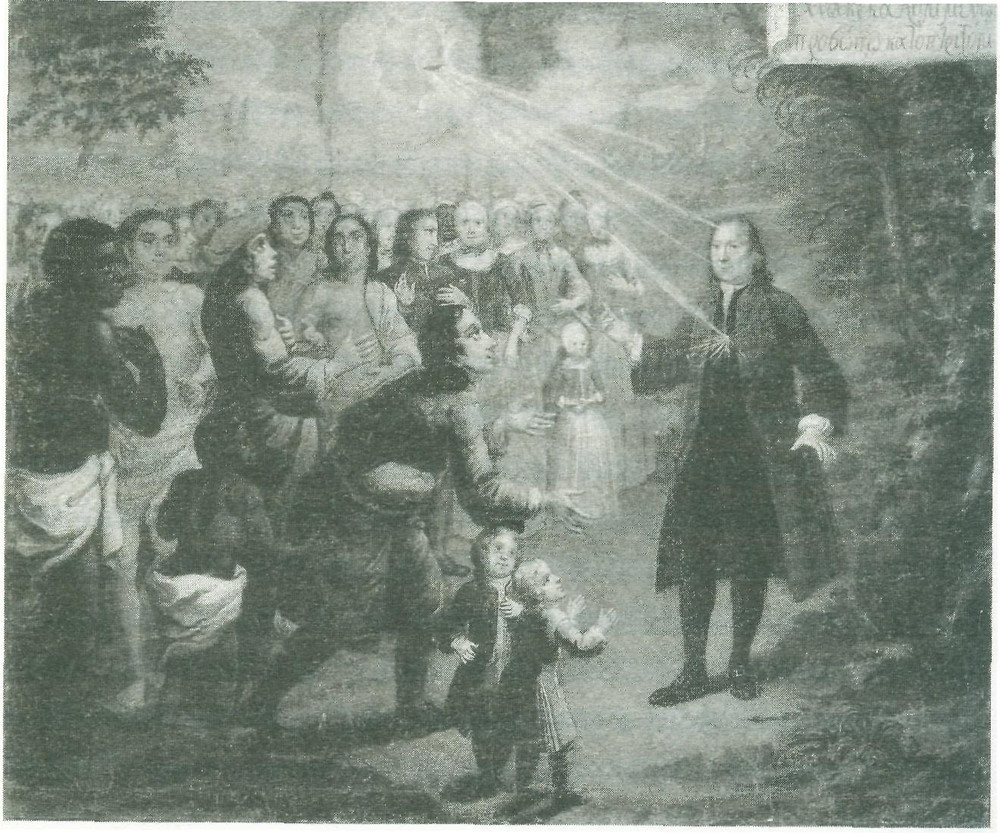 Zinzendorf preaching to people from many nation, Public Domain, https://en.wikipedia.org/w/index.php?curid=12512064