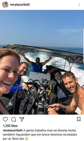 Teaching the Globo reporter Renata Ceribelli in Tijuquinha Islands