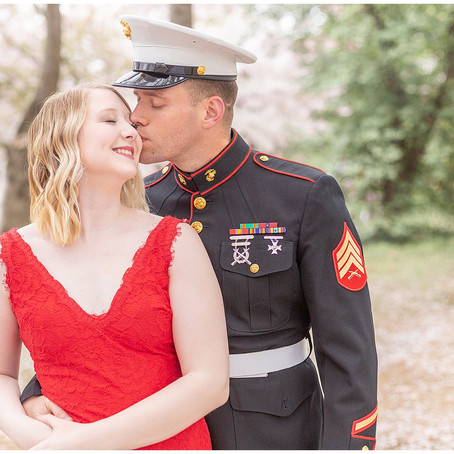 DC Cherry Blossoms | Couples Session at Thomas Jefferson Memorial | Madi and Keegan