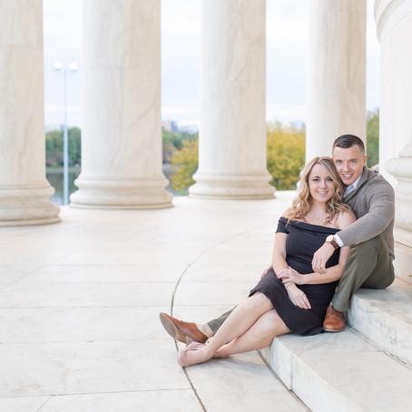 Georgetown & D.C. Fall Engagement Session | Jefferson Memorial Engagement | Taylor & Matthew
