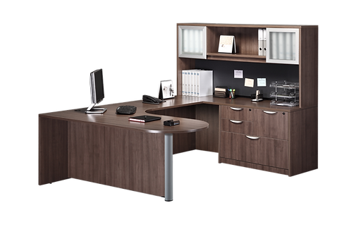 A03 Bullet U shape desk with combo Lateral file & Hutch