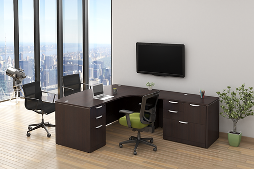 A16  L shape desk with 1 B.B.F. & combo lateral file.
