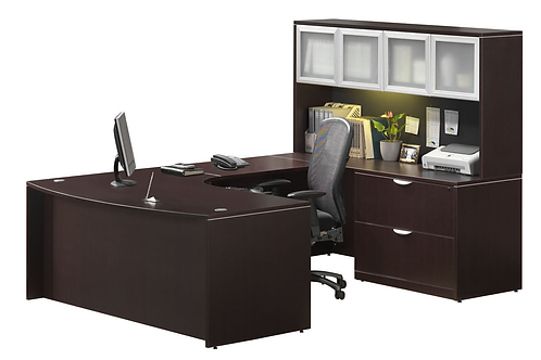 A02 Bow Front U shape desk with 2 drawer lateral file & B.B.F.