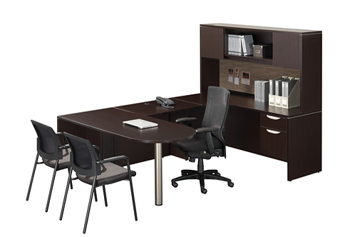 A04 Bullet U shape desk with B.F. File  file &  Hutch