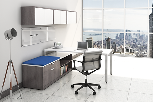 Suite 210 - L shape desk with low height storage unit and wall mounted hutch.