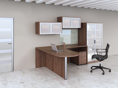 A08 Bullet L shape desk with mobile file, storage unit, wall mounted Hutchh