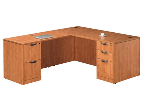 A15  L shape desk with 1 B.B.F. & 1 F.F. file.