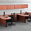 Thumbnail: A11 2 - Bullet L shape desk with 1 B.B.F. files each and wall mounted hutch.
