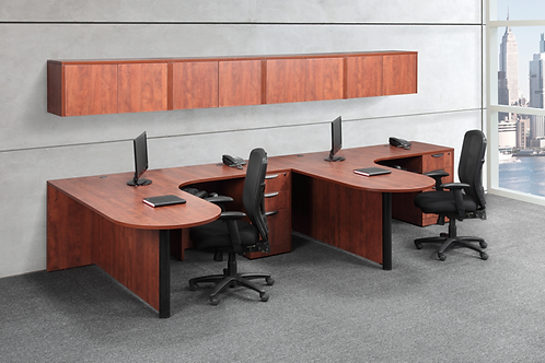 A11 2 - Bullet L shape desk with 1 B.B.F. files each and wall mounted hutch.