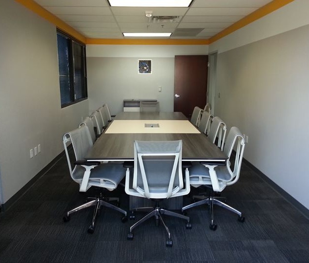 2 tone conference table with live wood edge.