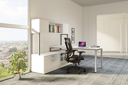 Suite 212 - L shape desk with low height storage unit and hutch.