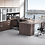 Thumbnail: A28 Bow front U shape desk with glass front and storage.