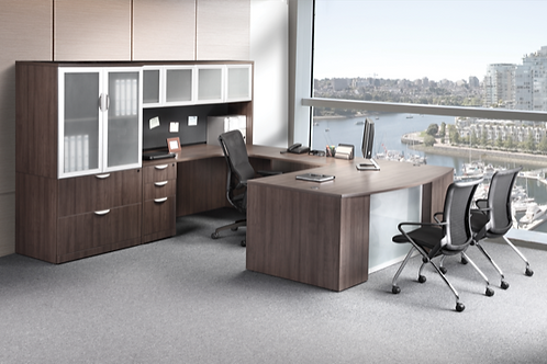 A28 Bow front U shape desk with glass front and storage.