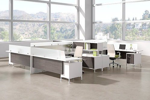 Desk Makers TeamWorX - Layout 2723 - 4 person Station