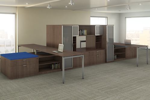 Suite 215 - 4 Person stations with glass front storage.