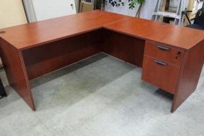 Used Cherry L shape desk with 1 B.F. file