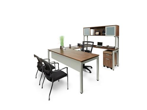 Suite 202 - U shape desk with 1 B.F.F. file & amp: sliding glass door hut