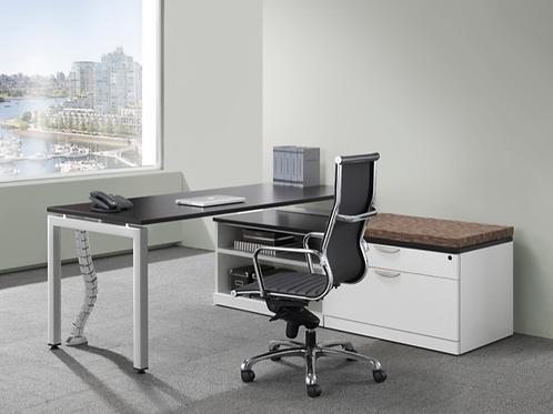 Suite 211 - L shape desk with low height storage unit
