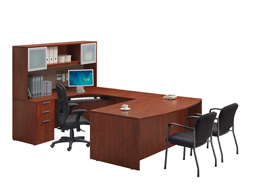 A05 Bow front  U shape desk with 2  B.B.F. Files & Hutch.