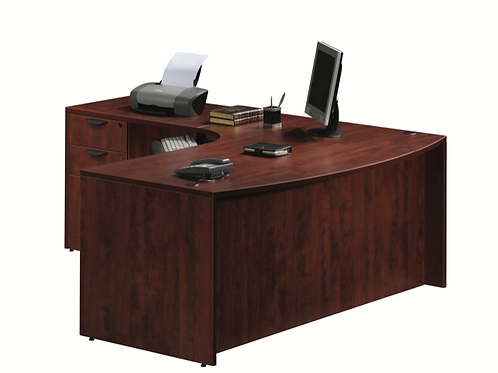 A09 Bow front L shape desk with 1 B.B.F. files .