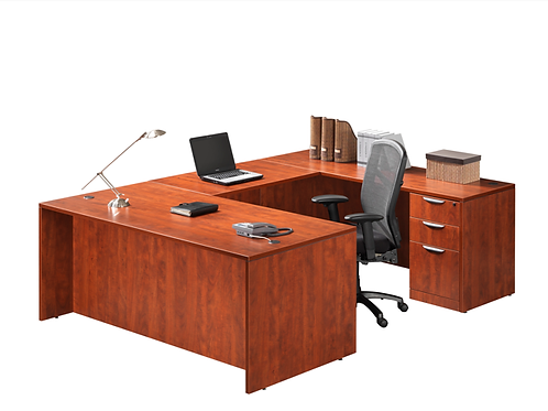 A06 U shape desk with 2  B.B.F. Files & Hutch
