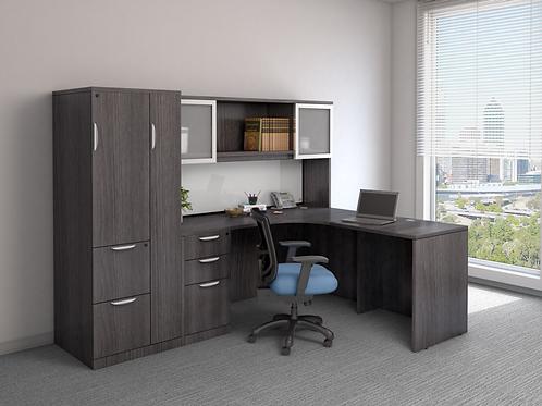 A12  L shape desk with  B.B.F. file , hutch and storage unit.