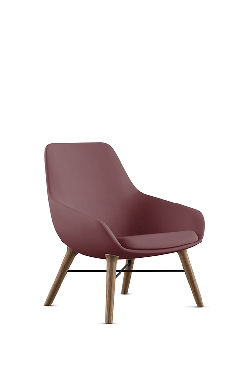 9to5 Lily Chair in Crepe Burgundy with Wood legs