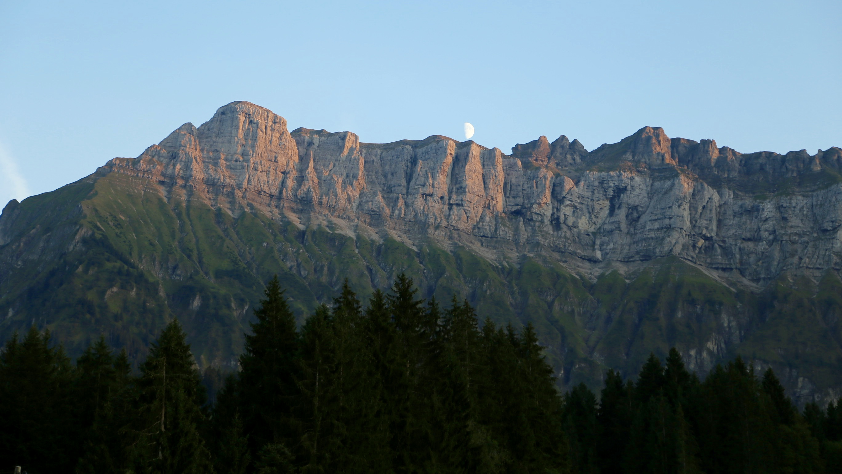 Moon over Schrattenfluh from Rosegg hotel